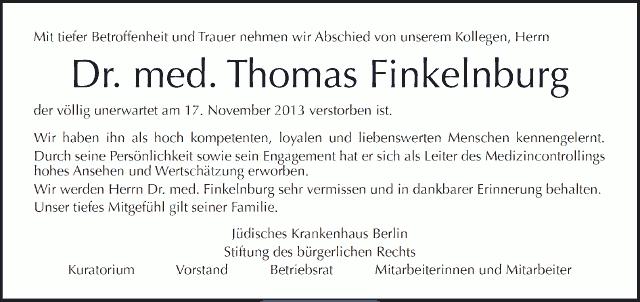 Dr. med. Thomas Finkelnburg ist verstorben