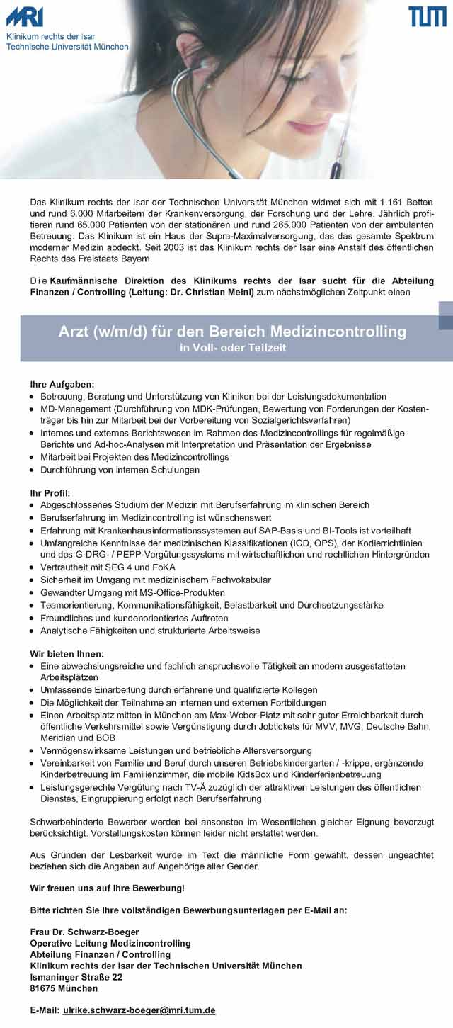 Klinikum rechts der Isar München: Arzt im Medizincontrolling (w/m/d)