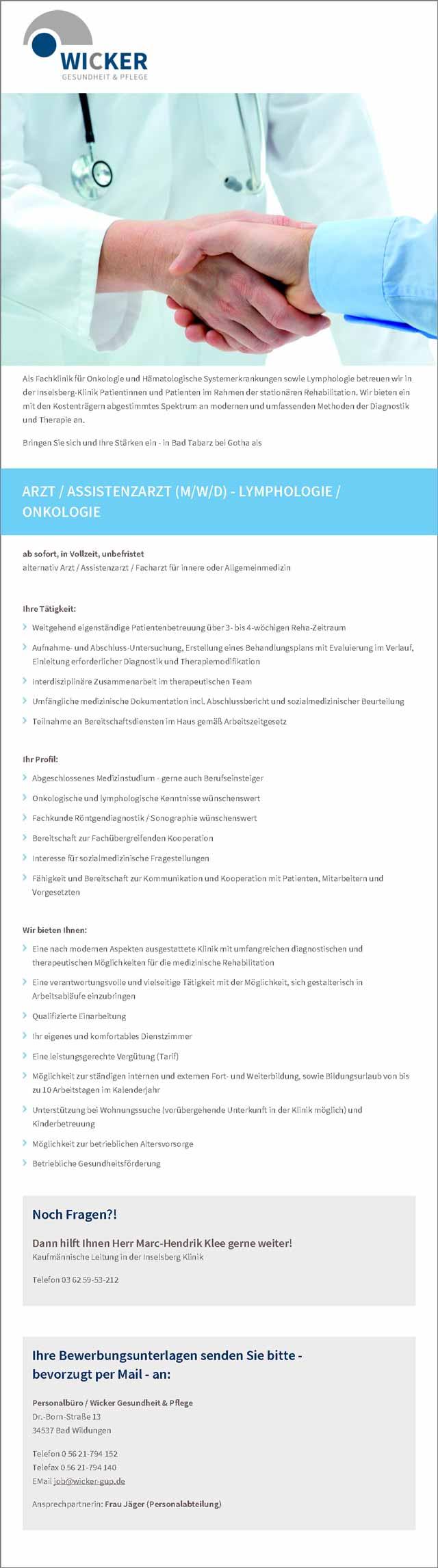 Wicker - Gesundheit und Pflege: Arzt / Assistenzarzt (m/w/d)