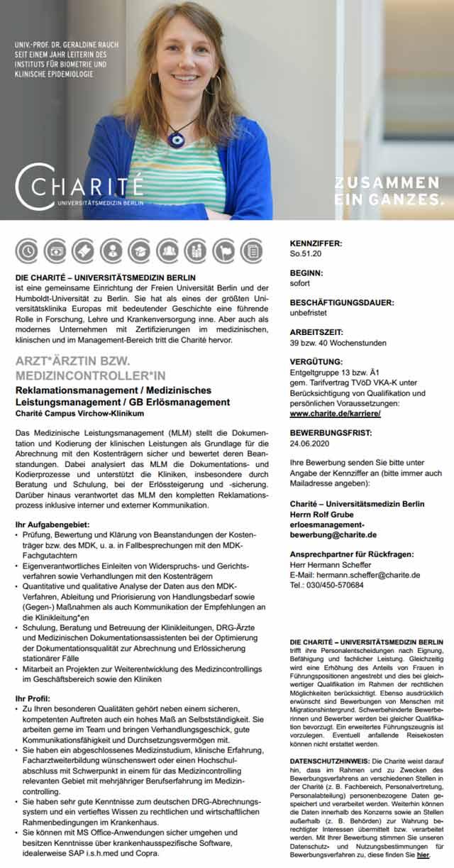 Charité - Universitätsmedizin Berlin: Arzt / Medizincontroller (m/w/d)