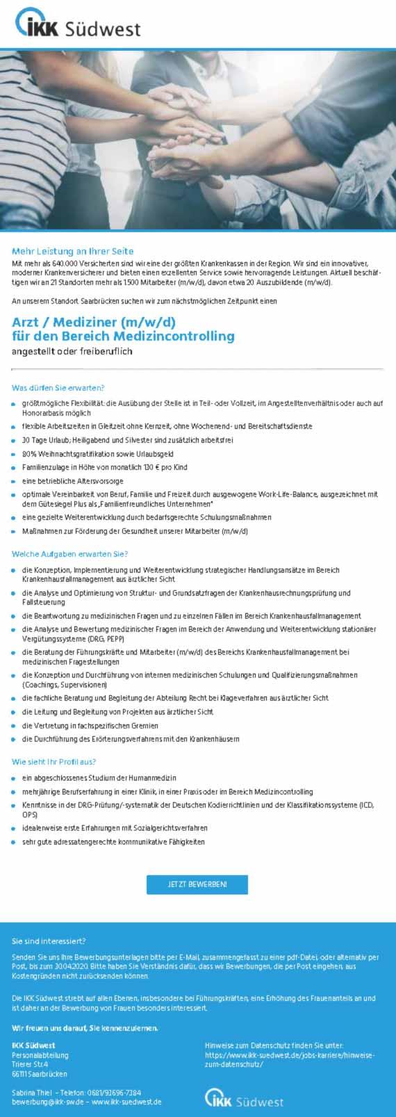 IKK Südwest Saarbrücken: Arzt / Mediziner (m/w/d)