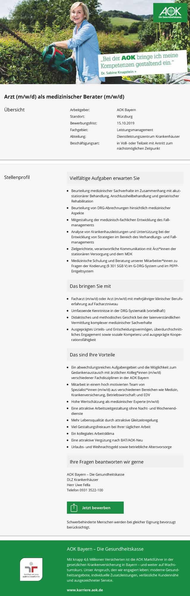 AOK Bayern: Arzt als medizinischer Berater (m/w/d)