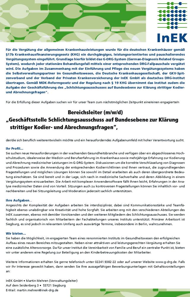 """InEK GmbH Siegburg: Bereichsleiter """"Geschäftsstelle Schlichtungsausschuss auf Bundesebene zur Klärung strittiger Kodier- und Abrechnungsfragen"""" (m/w/d)"""