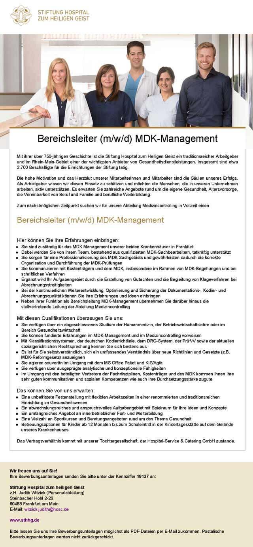Stiftung Hospital zum heiligen Geist: Bereichsleitung MDK-Management (m/w/d)