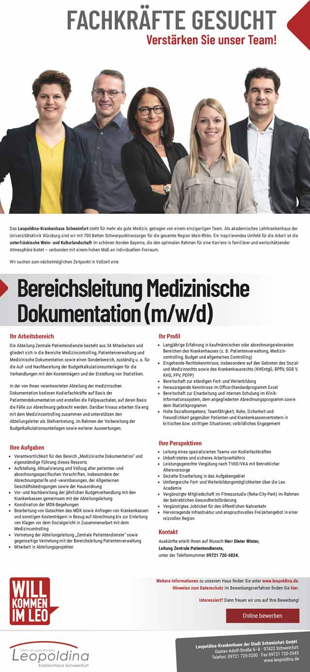 Leopoldina Krankenhaus der Stadt Schweinfurt GmbH: Bereichsleitung Medizinische Dokumentation (m/w/d)