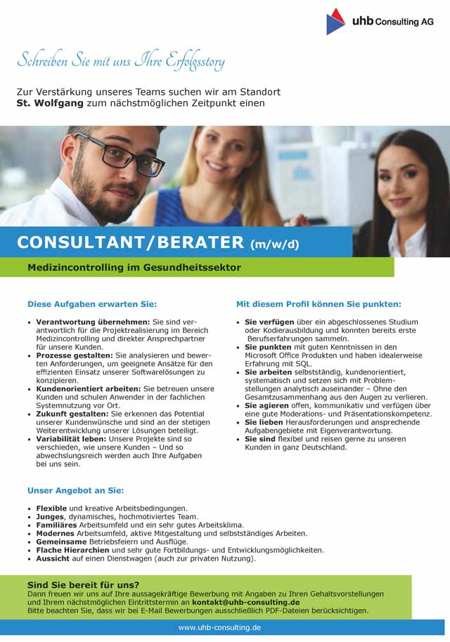 uhb consulting AG St. Wolfgang: Consultant / Berater (m/w/d)