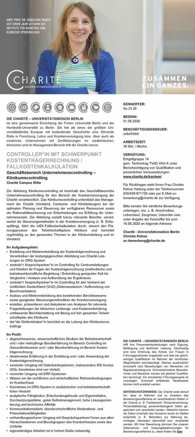 Charité - Universitätsmedizin Berlin: Controller Kostenträgerrechnung / Fallkostenkalkulation (w/m/d)