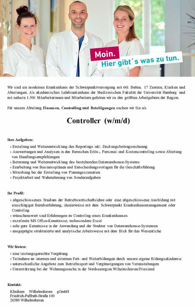 Klinikum Wilhelmshaven gGmbH: Controller (w/m/d)