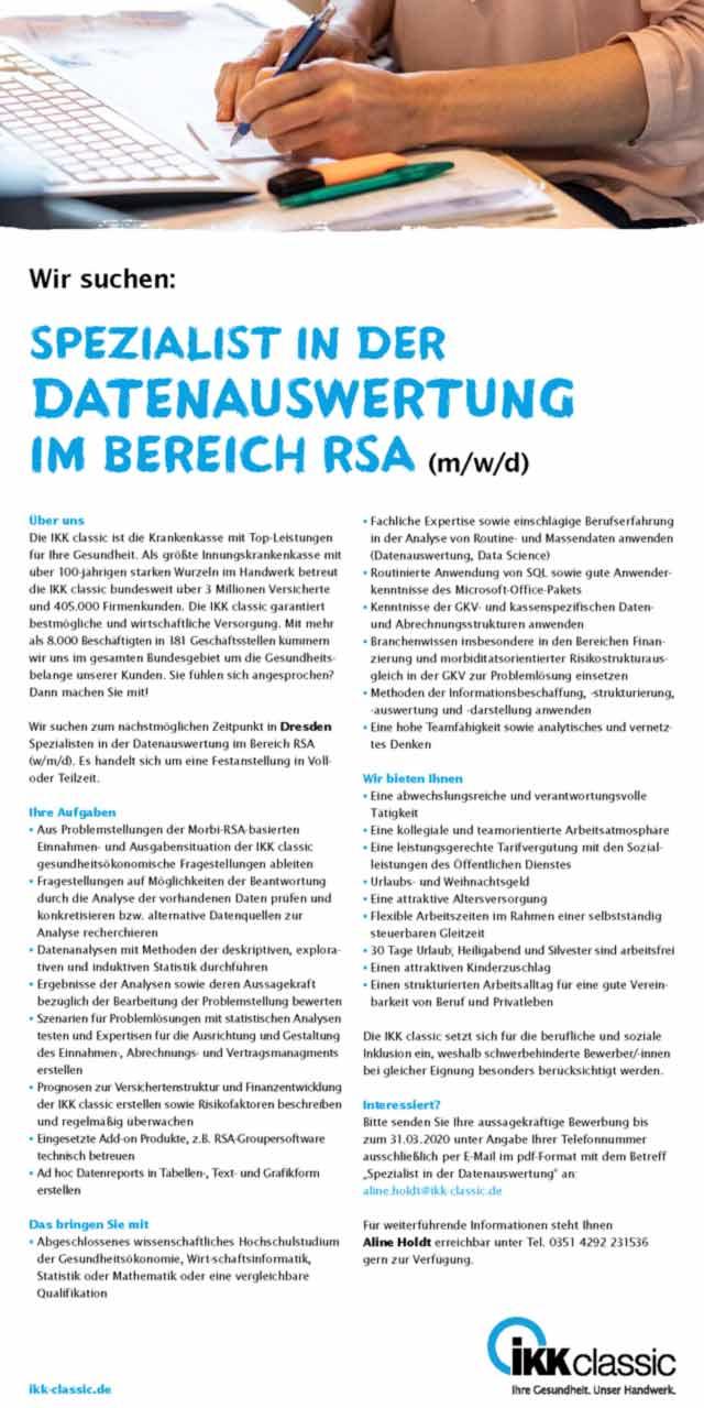 IKK Classic Dresden: Spezialist in der Datenauswertung im Bereich RSA (m/w/d)