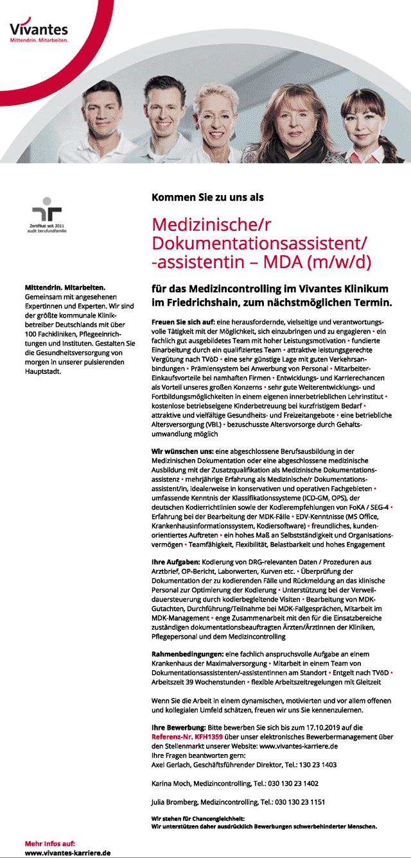 Vivantes Klinikum Friedrichshain: Medizinischer Dokumentationsassistent MDA (m/w/d)