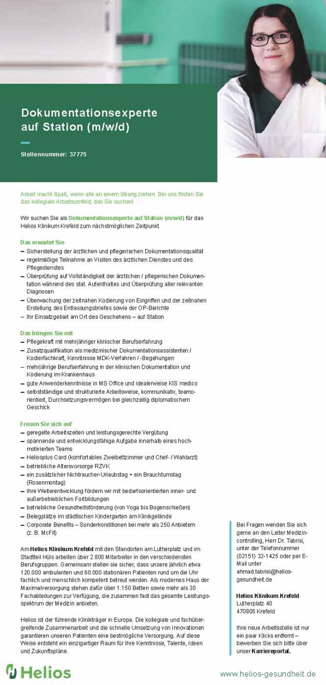 Helios Klinikum Krefeld: Dokumentationsexperte (m/w/d)