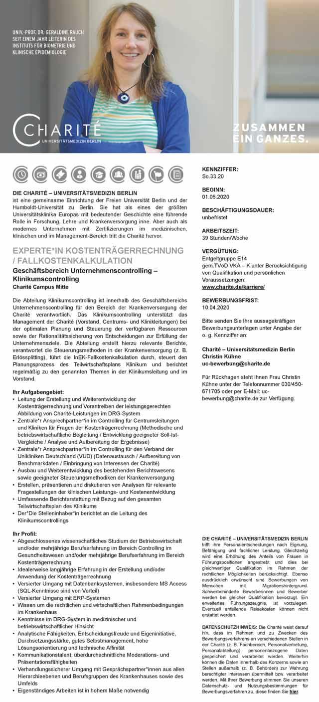 Charité - Universitätsmedizin Berlin: Experte Kostenträgerrechnung / Fallkostenkalkulation (m/w/d)