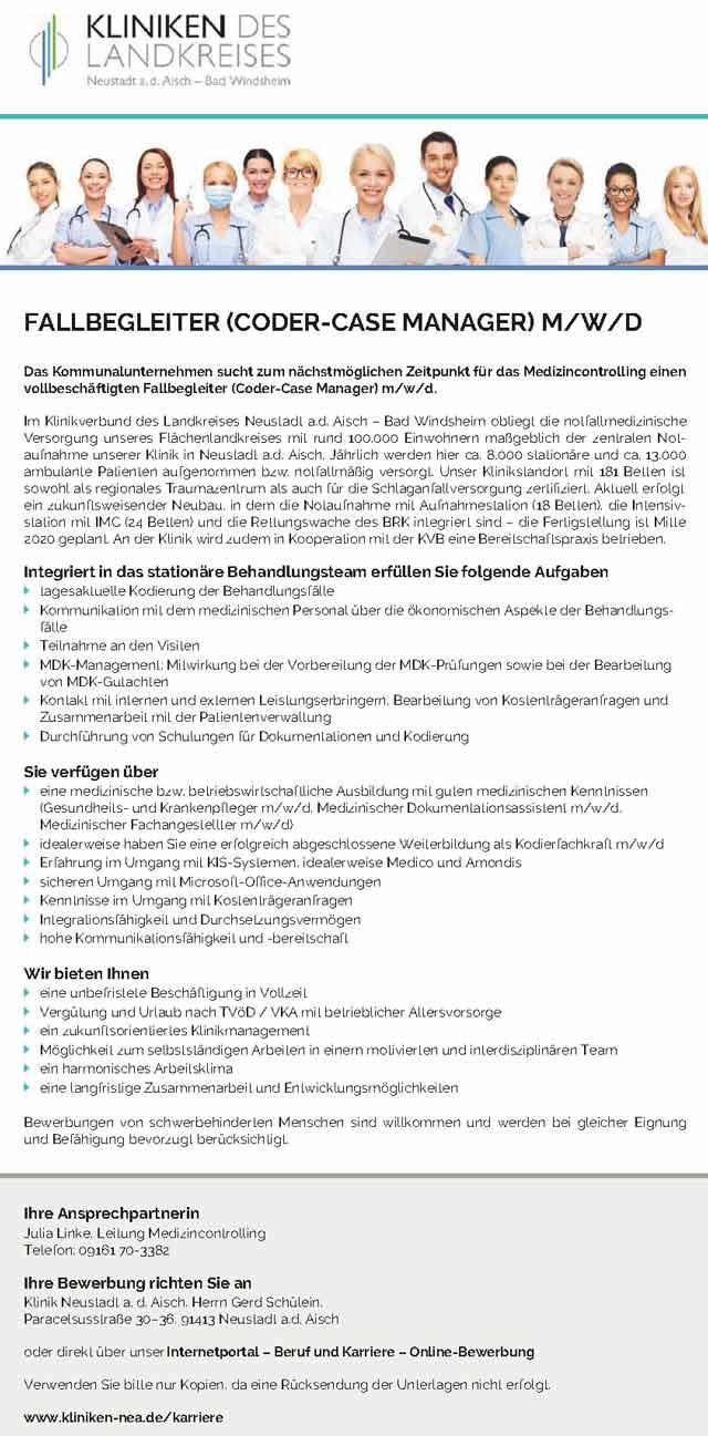 Kliniken Neustadt a.d. Aisch Bad Winsheim: Fallbegleiter (Coder-Case Manager) (m/w/d)