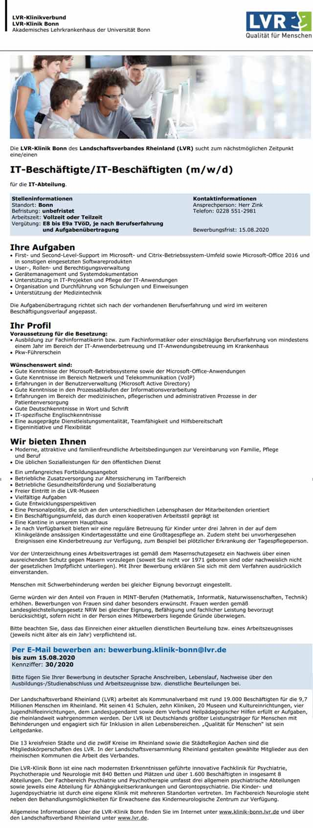LVR-Klinik Bonn: IT-Beschäftigte/r (m/w/d)