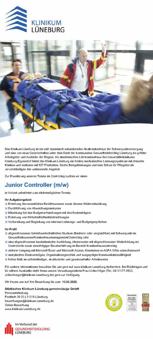 Städtisches Klinikum Lüneburg gGmbH: Junior Controller (m/w/d)