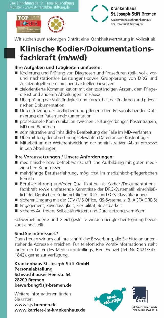 Krankenhaus St. Joseph-Stift GmbH Bremen: Klinische Kodier- / Dokumentationsfachkraft (m/w/d)