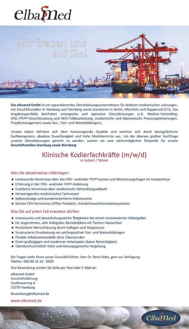 elbamed GmbH Hamburg: Klinische Kodierfachkräfte (m/w/d)