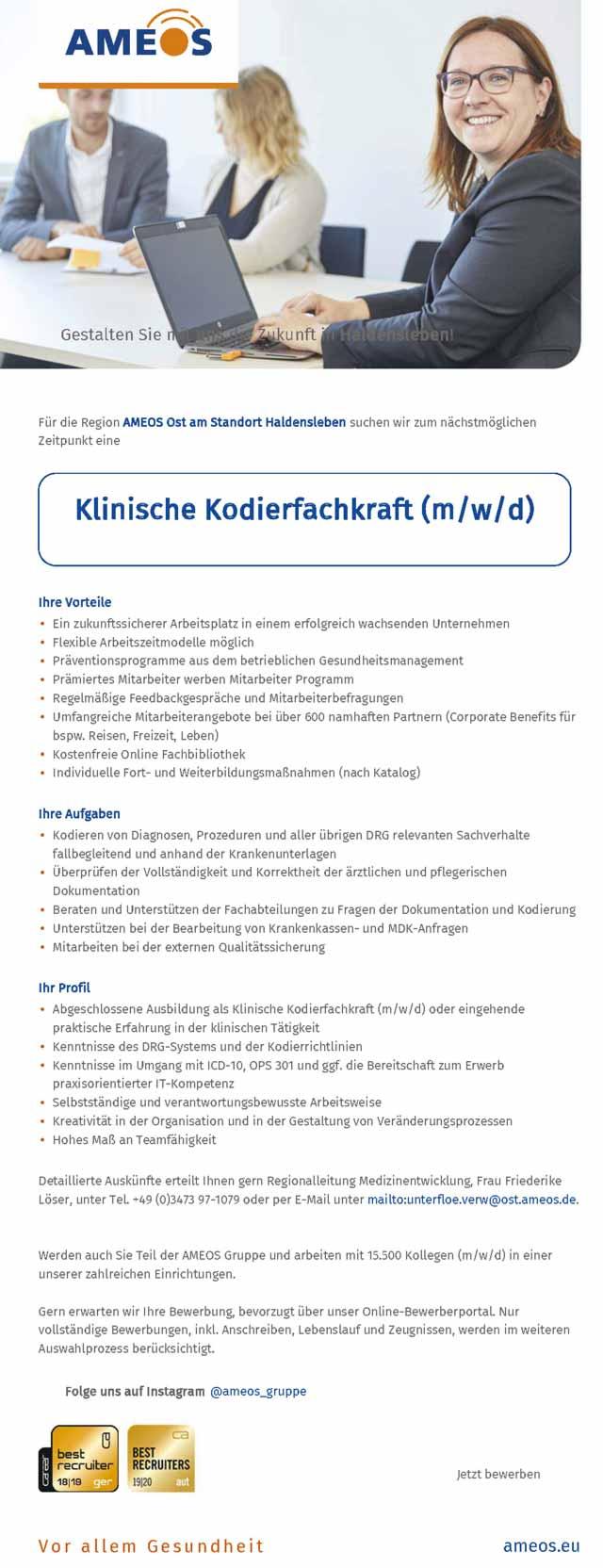 Ameos Ost Bernburg Haldensleben: Klinische Kodierfachkraft (m/w/d)
