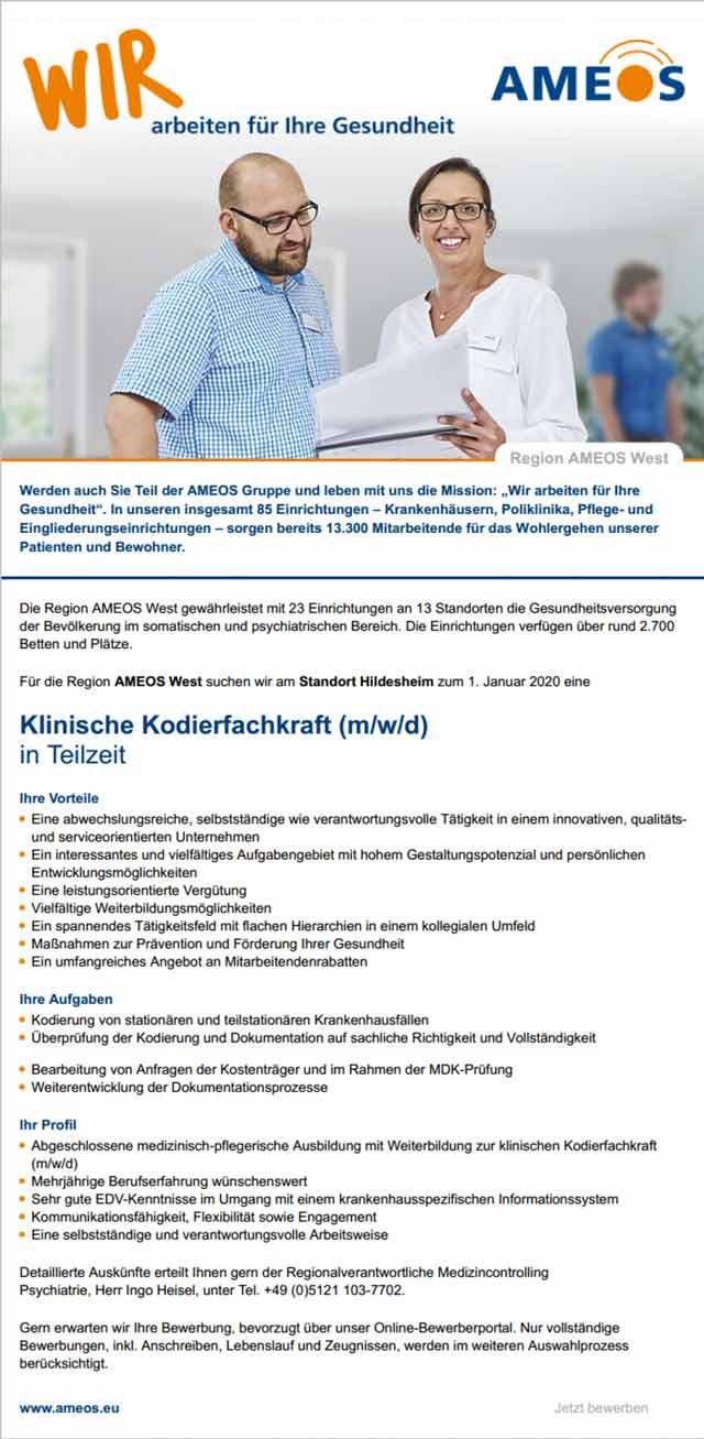 AMEOS Region West Hildesheim: Klinische Kodierfachkraft (m/w/d)