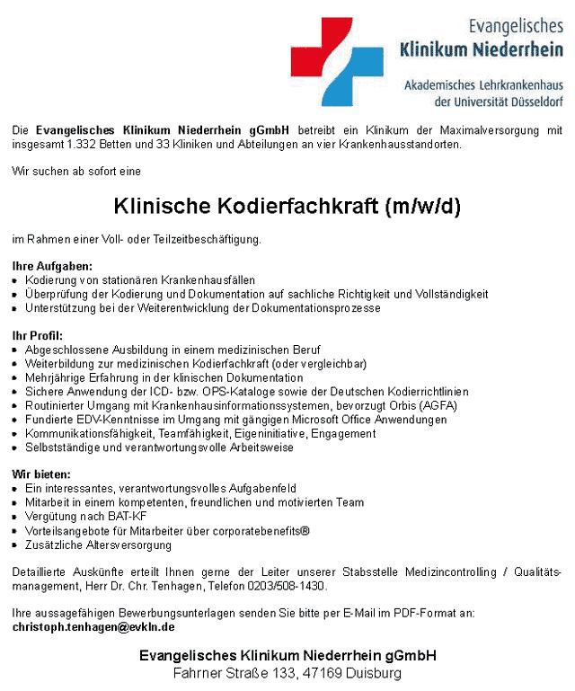 Evangelisches Klinikum Niederrhein gGmbH: Klinische Kodierfachkraft (m/w/d)