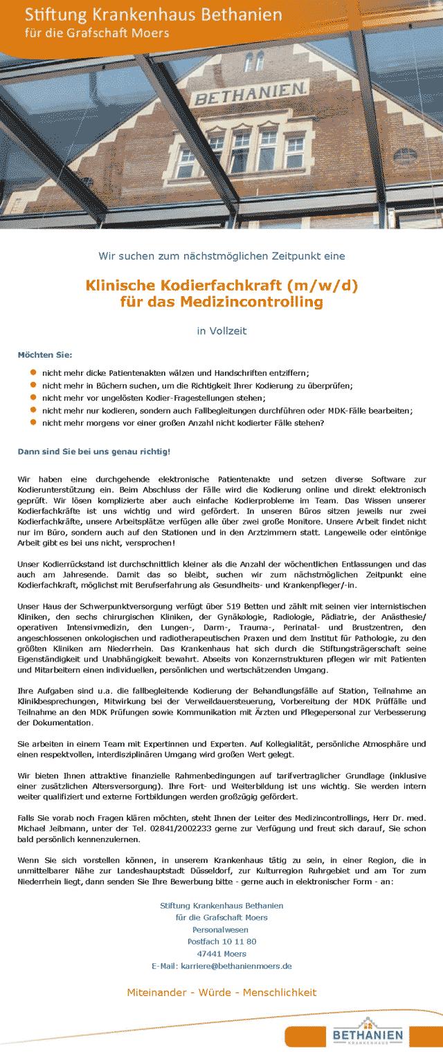 Stiftung Krankenhaus Bethanien für die Grafschaft Moers: Klinische Kodierfachkraft (m/w/d)