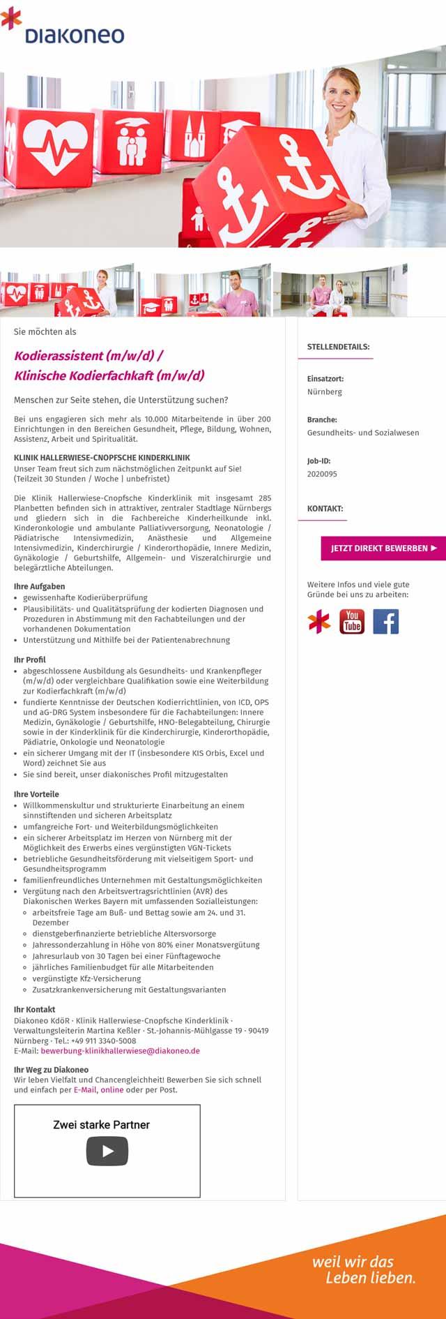 Diakoneo KdöR - Klinik Hallerwiese-Cnopfsche Kinderklinik: Kodierassistent / Klinische Kodierfachkaft (m/w/d)