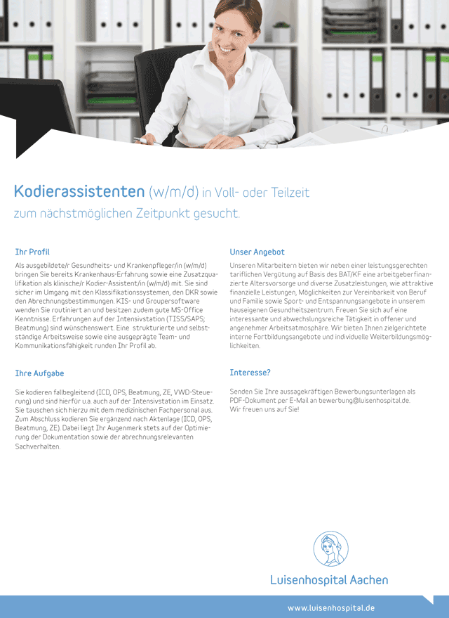 Luisenhospital Aachen: Kodierassistent (m/w/d)