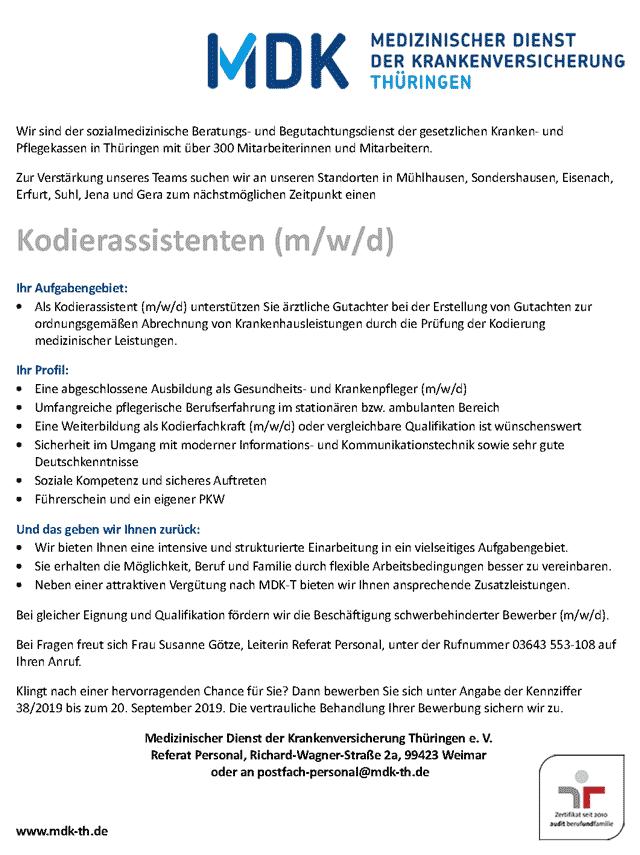 MDK Thüringen e.V.: Kodierassistenten (m/w/d)