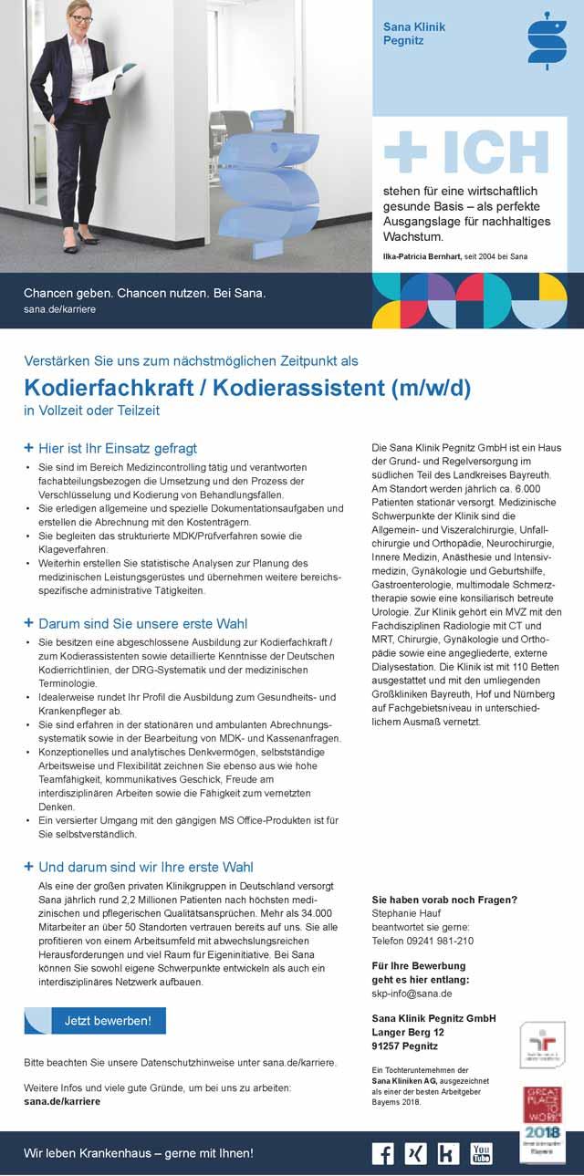 Sana Klinik Pegnitz GmbH: Kodierfachkraft / Kodierassistent (m/w/d)