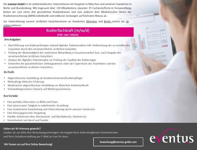 eventus GmbH: Kodierfachkraft (m/w/d)