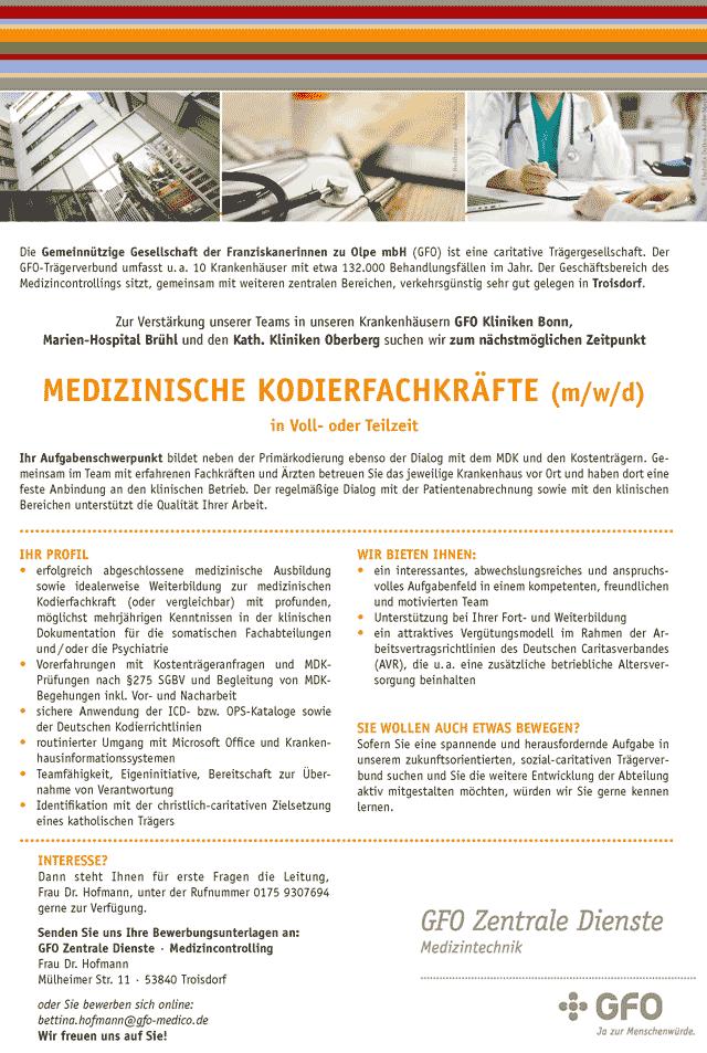 GFO Zentrale Dienste Troisdorf: Medizinische Kodierfachkräfte (m/w/d)