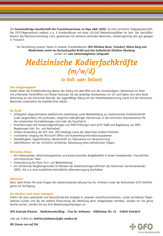 GFO-Medical-Center Troisdorf: Medizinische Kodierfachkräfte (m/w/d)