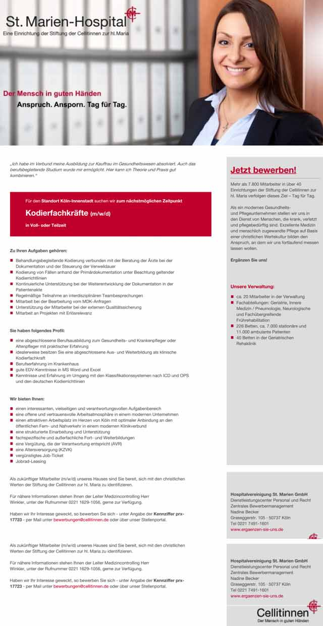 Hospitalvereinigung St. Marien GmbH: Kodierfachkräfte (m/w/d)