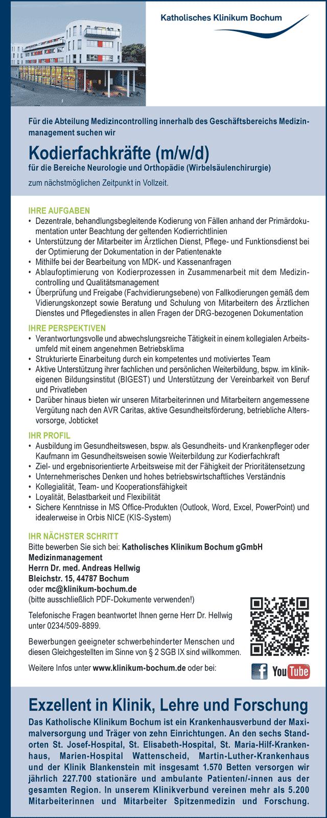 Katholisches Klinikum Bochum: Kodierfachkräfte (m/w/d)