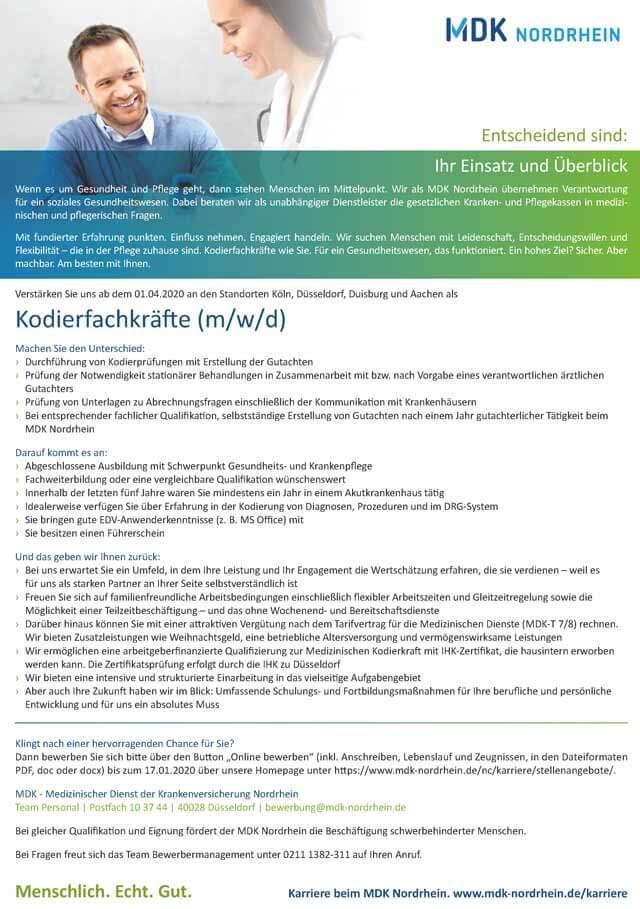 MDK Nordrhein: Kodierfachkräfte (m/w/d)