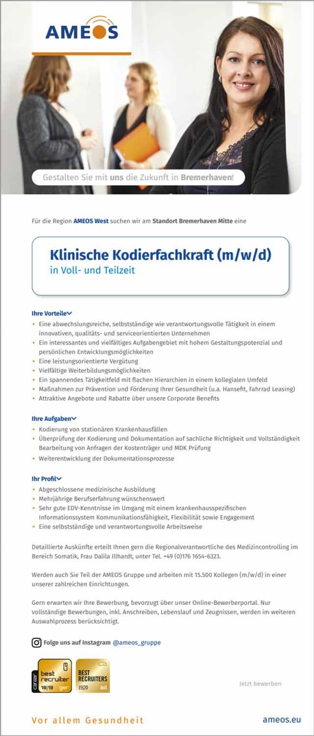 Ameos West Bad Salzuflen: Klinische Kodierfachkraft (m/w/d)