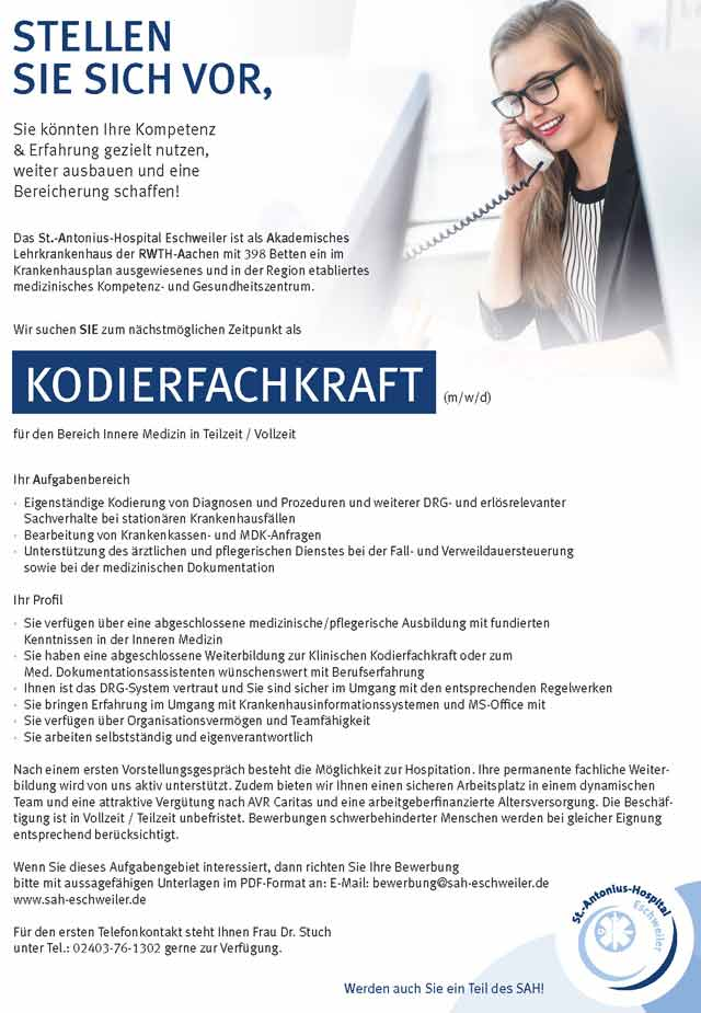 St.-Antonius-Hospital Eschweiler: Kodierfachkraft (m/w/d)