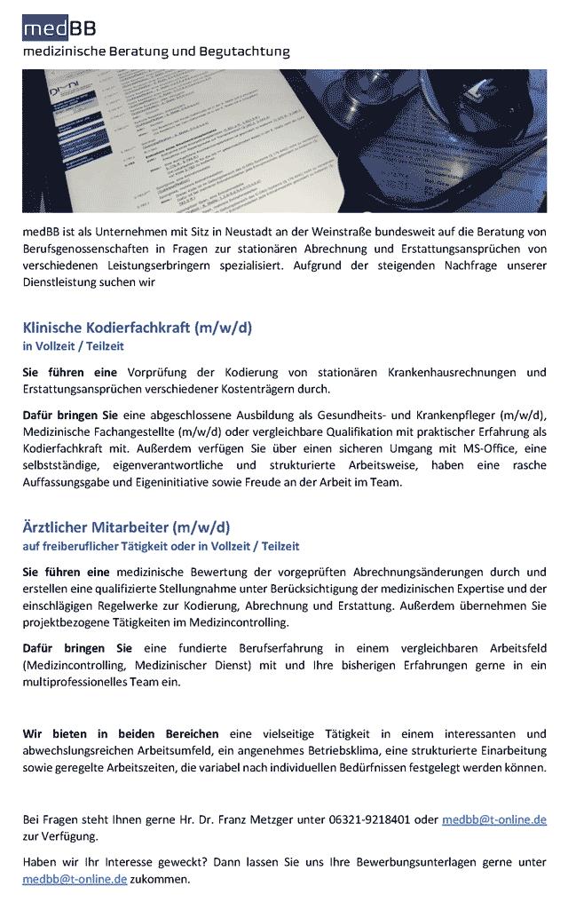 medBB medizinische Beratung und Begutachtung: Klinische Kodierfachkraft / Ärztlicher Mitarbeiter (m/w/d)