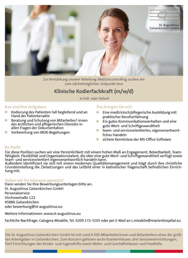 St. Augustinus Gelsenkirchen GmbH: Klinische Kodierfachkraft (m/w/d)