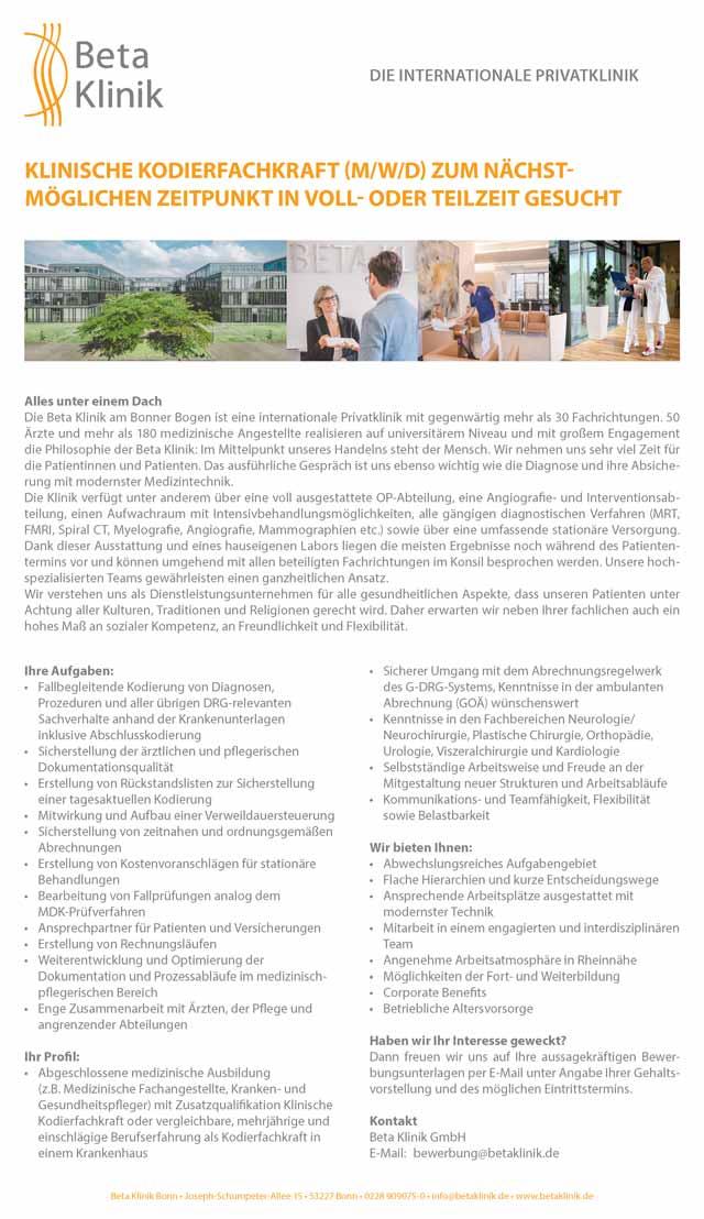Beta Klinik GmbH Bonn: Klinische Kodierfachkraft (m/w/d)