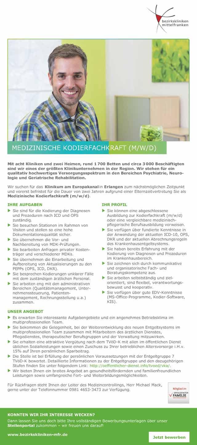 Bezirkskliniken Mittelfranken: Medizinische Kodierfachkraft (m/w/d)