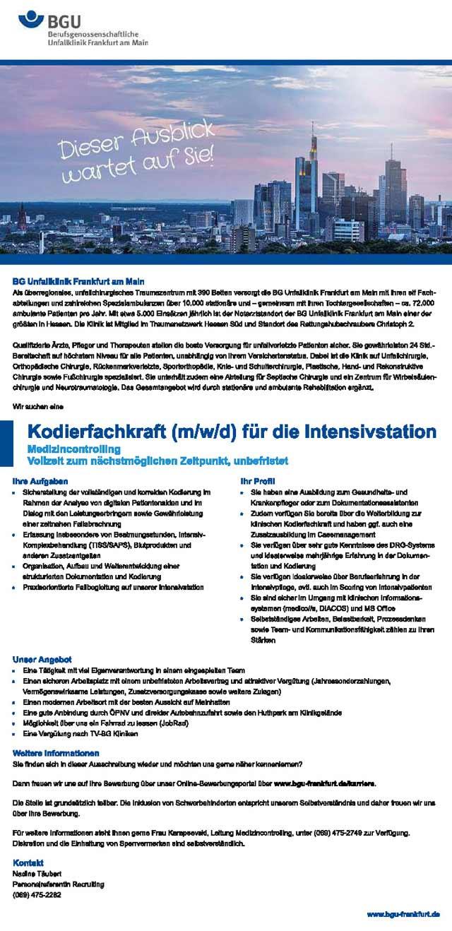 BGU Frankfurt am Main: Kodierfachkraft f.d. Intensivstation (m/w/d)