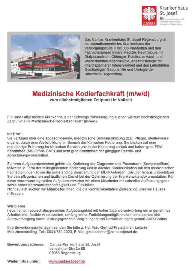 Caritas-Krankenhaus St. Josef: Medizinische Kodierfachkraft (m/w/d)