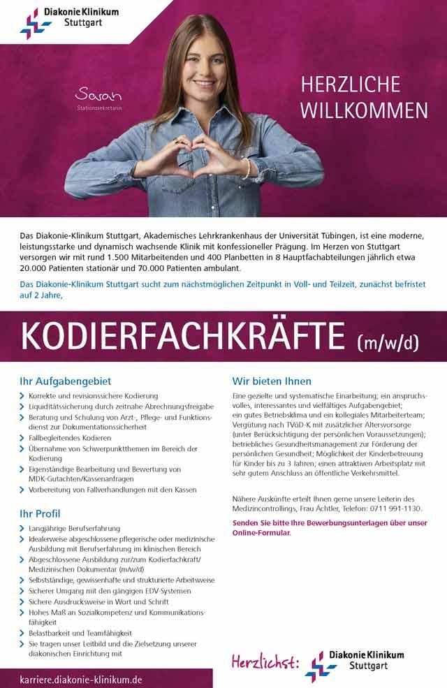 Diakonie-Klinikum Stuttgart: Kodierfachkräfte (m/w/d)