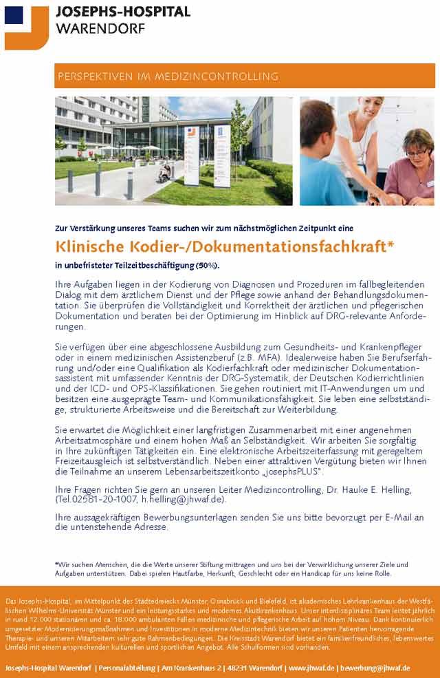 Josephs-Hospital Warendorf: Klinische Kodier-/Dokumentationsfachkraft (m/w/d)