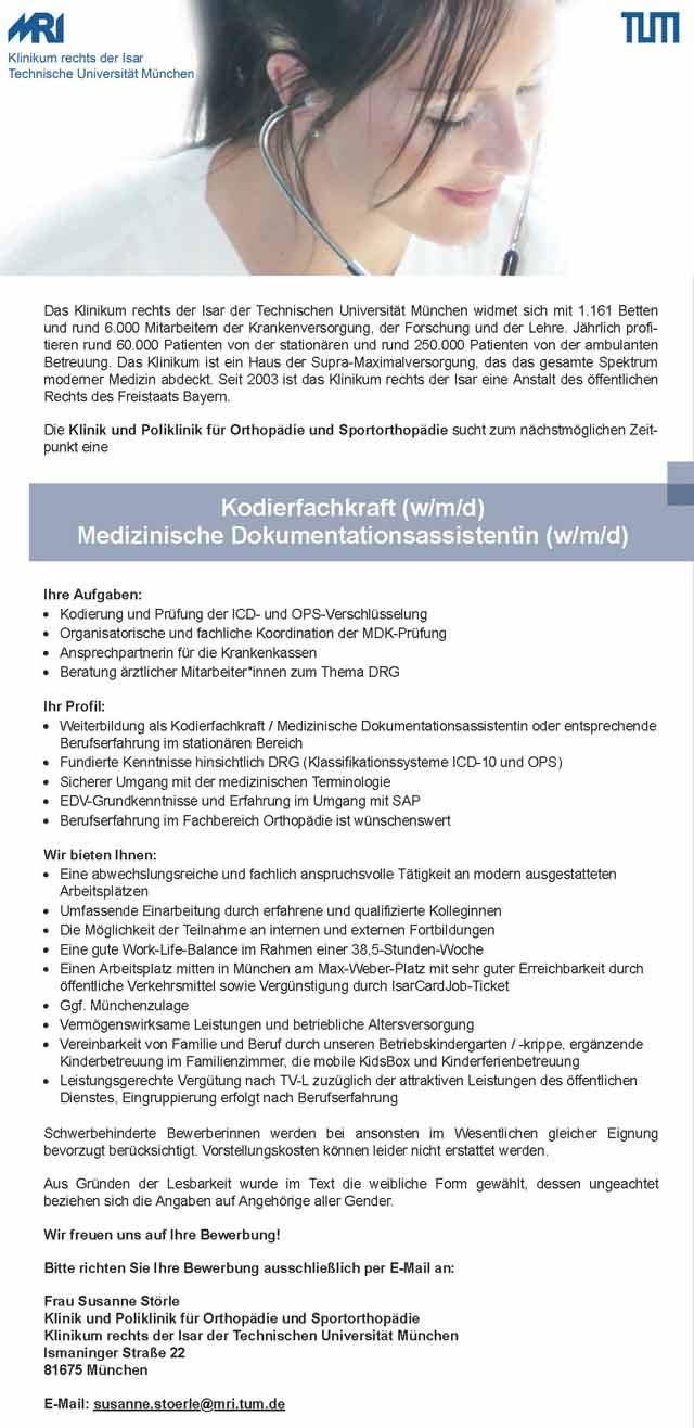 Klinikum rechts der Isar München: Kodierfachkraft / Medizinische Dokumentationsassistentin (w/m/d)