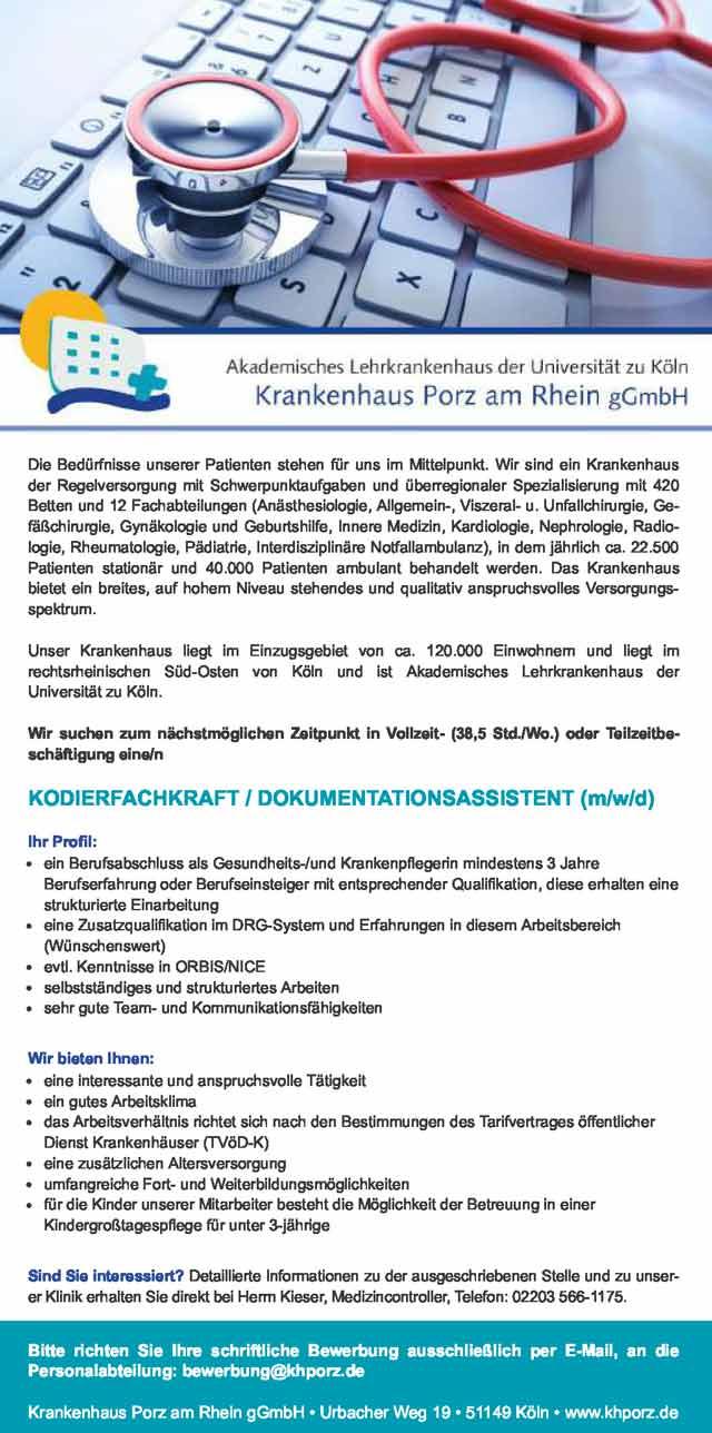 Krankenhaus Porz am Rhein: Kodierfachkraft / Dokumentationsassistent (m/w/d)