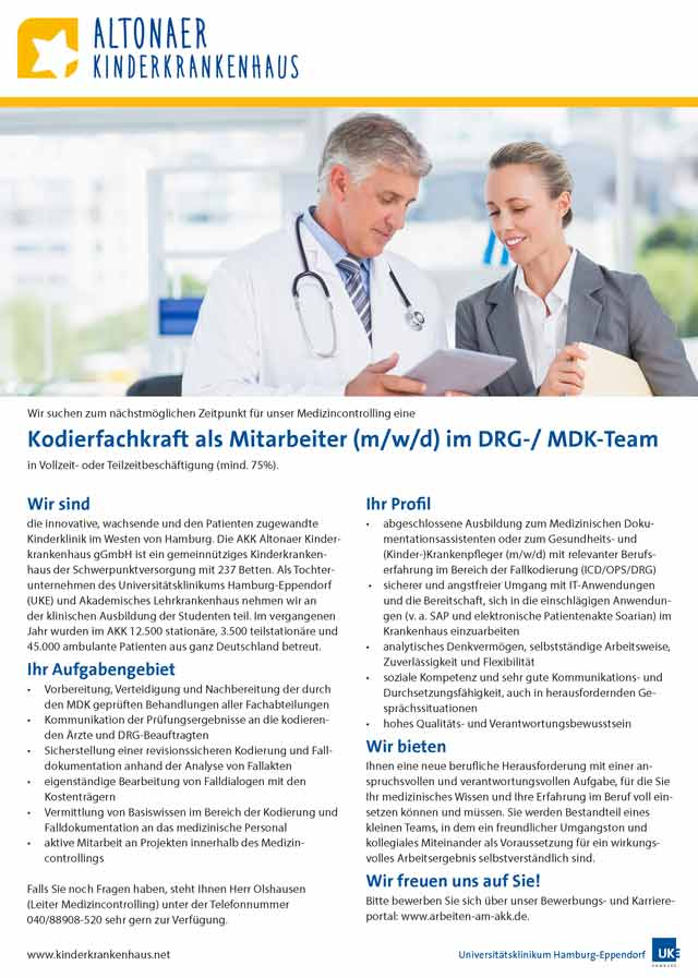 AKK Altonaer Kinderkrankenhaus gGmbH: Kodierfachkraft (m/w/d)