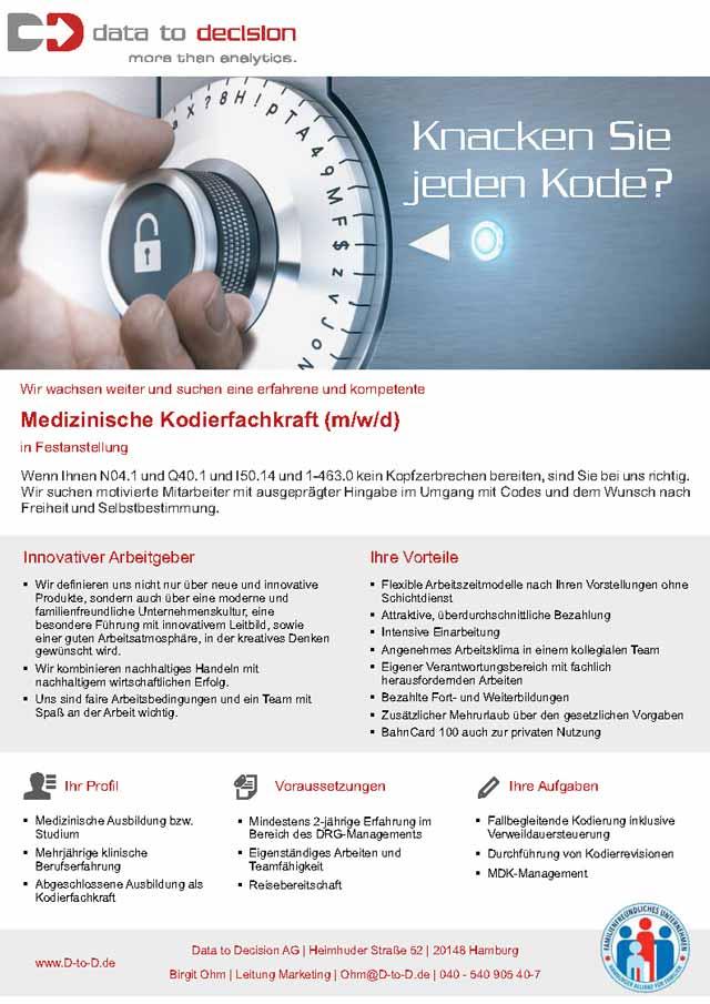 Data to Decision AG, Hamburg: Medizinische Kodierfachkraft (w/m/d)