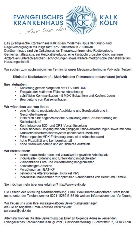 Evangelisches Krankenhaus Kalk gGmbH: Klinische Kodierfachkraft / Medizinischer Dokumentationsassistent (m/w/d)